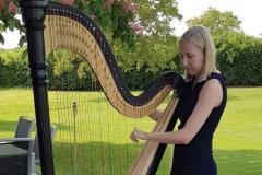 Sektempfang im Mai 2019 - Harfe stimmen vor Spielbeginn